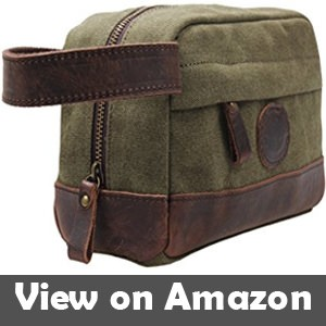 My style garment MSG Vintage Leather Canvas Travel Toiletry Bag ee4ab08faf541